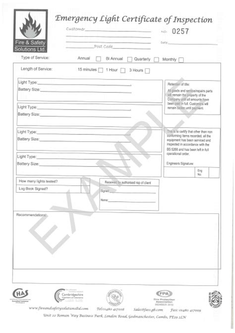 extinguisher certificate template servicing and maintenance and safety solutions ltd