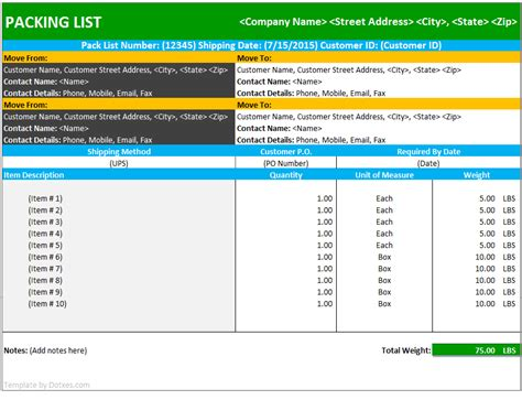 shipping packing list template packing list format in word venturecapitalupdate