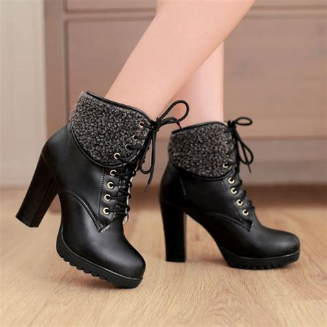 chunky high heel lace up ankle black winter boots on luulla
