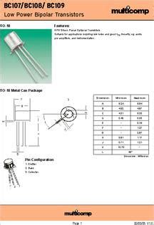 transistor datasheet bc107 bc109 datasheet specifications transistor polarity npn collector