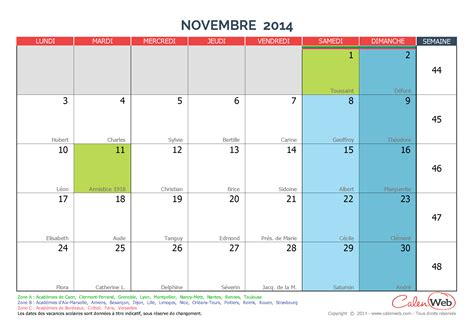 Calendrier 4 Novembre 2014 Calendrier Mensuel Mois De Novembre 2014 Avec F 234 Tes