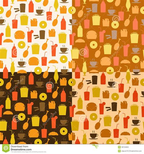Interior Design Web App set of seamless pattern of fast food icons stock vector
