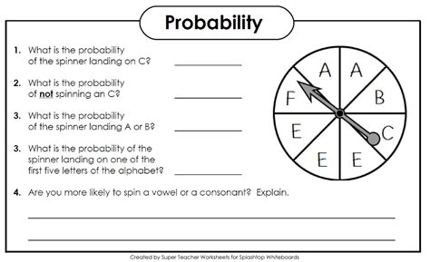 Letter Probability probability spinner worksheets worksheets for all