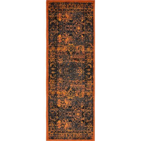2 x 6 runner rugs unique loom istanbul terracotta 2 ft x 6 ft runner rug 3134632 the home depot