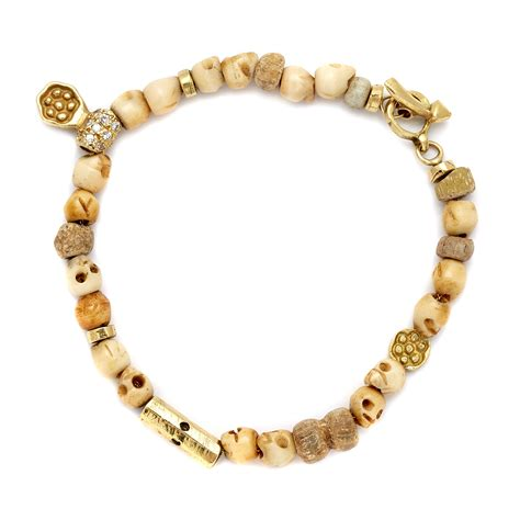 Bones Bracelet yellow gold bone skull beaded bracelet elisa solomon jewelry