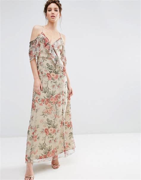 Cold Shoulder Maxi Dress asos asos ruffle cold shoulder maxi dress in vintage