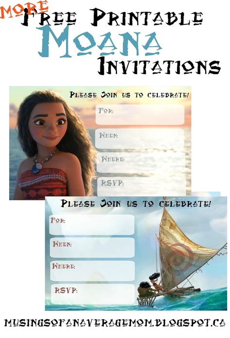 Moana Free Invitation Templates