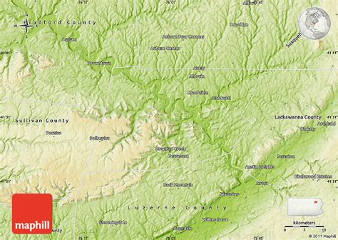 physical map of pennsylvania physical map of wyoming county