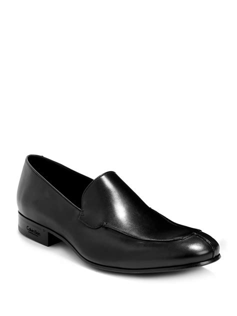 calvin klein loafers calvin klein leather loafers in black for lyst