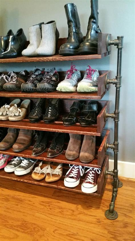 shoe shelves diy rustic wood shoe shelves with pipe stand legs