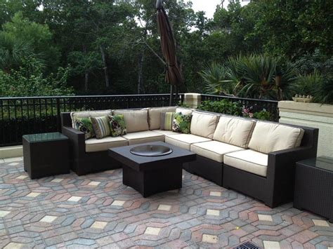 backyard couch outdoor sofa set with gas fire pit table