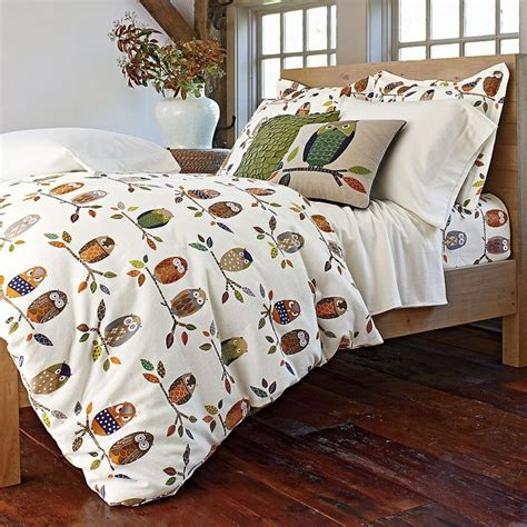 owl flannel duvet cover sham the company store