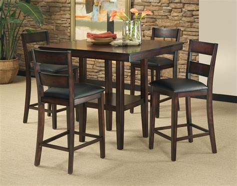 Pub Table Dining Set 5 Contemporary Pub Height Table Barstool Set