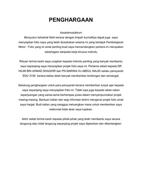 contoh mini biography penghargaan folio