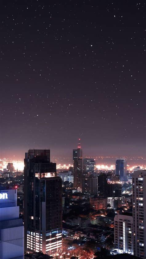 night stars buildings skyscrapers cityscape