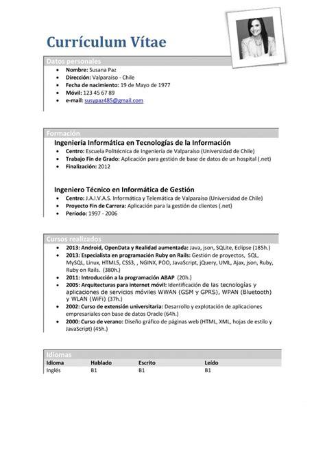 Modelo Curriculum Vitae Para Universidad modelo de cv largo para analista programador