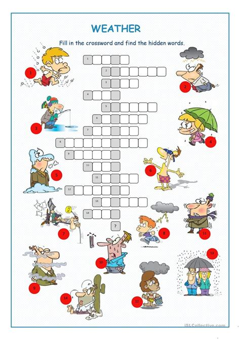 printable games weather weather crossword puzzle worksheet free esl printable
