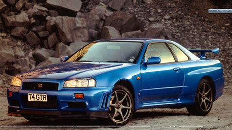 nissan skyline nissan skyline gt r r34 bkue color view wallpaper