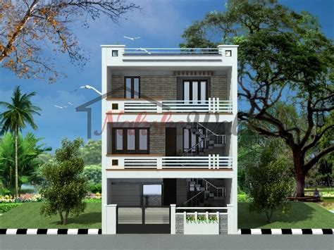 Multifamily House by One Side Open Plot Elevations