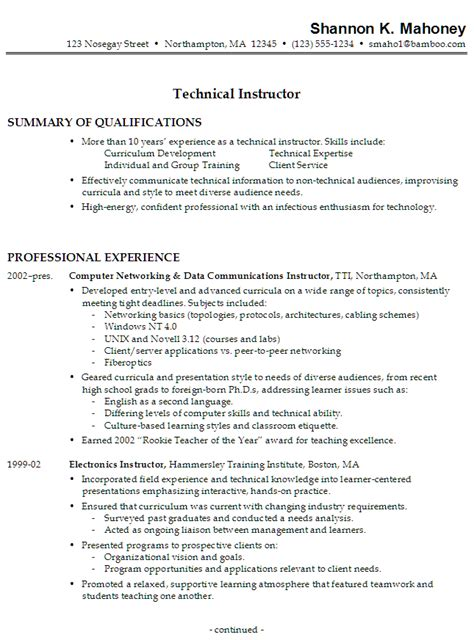 Instructor Resume resume sle for a technical instructor susan ireland