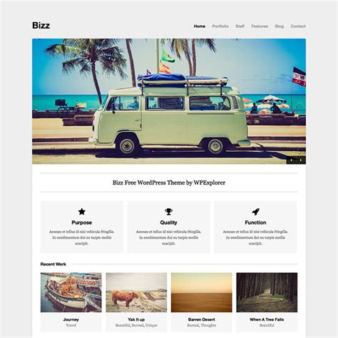 list themes for wordpress bizz free minimal business portfolio wordpress theme