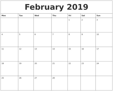 february printable monthly calendar