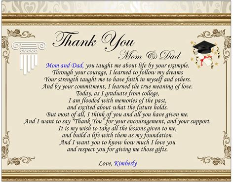 thank you letter for parents in graduation poetry thank you parent graduation gift clock marble pen