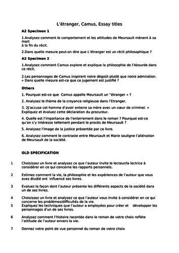 L'Etranger - Camus - Essay titles - A2 by Nanouche