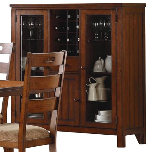 China Cabinet With Wine Rack by Homelegance Clayton Glass Door Curio With Wine Rack In