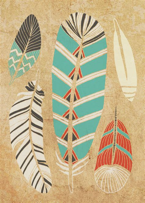 tribal pattern feather tribal feather art print