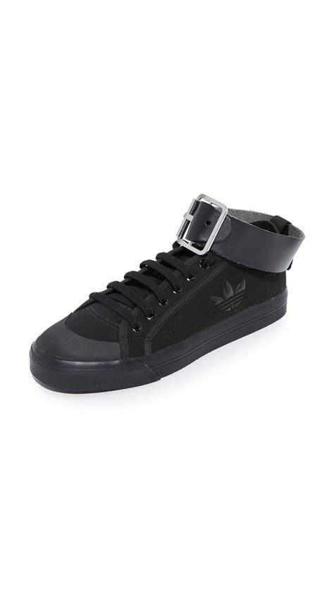 adidas originals raf simons spirit buckle sneakers in black lyst