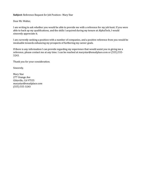 Reference Letter Template Request Sle Letter Of Recommendation Email Contoh 36