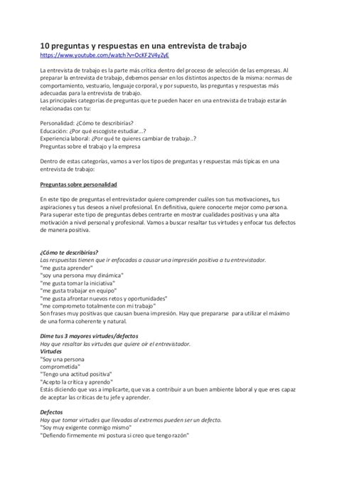 preguntas en una entrevista de trabajo para el entrevistador 10 preguntas y respuestas en una entrevista de trabajo