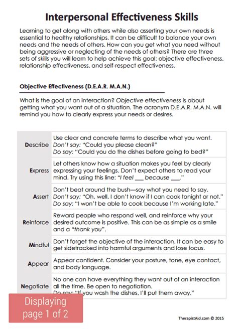 Dialectical Behavior Therapy Worksheets by Dbt Interpersonal Effectiveness Skills Preview Therapy