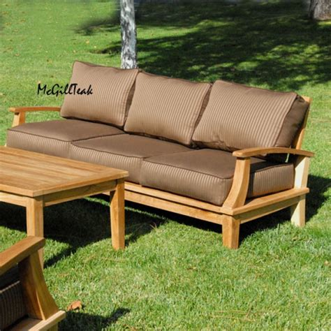 lounge bench teak outdoor patio deep seating sofa bali lounge bench