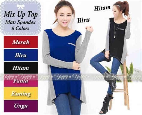 Sale Baju Atasan Jumbo Kaos Mecca Top Jersey Polos kaos cewek two tone mix up top keren murah