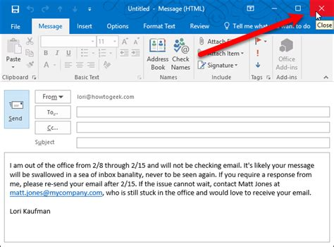 how to set up an out of office reply in outlook for windows