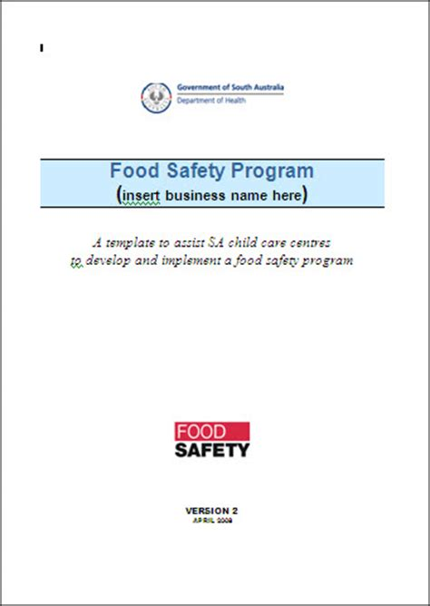 food safety manual template cft qld food safety courses