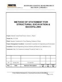 method statement template for construction method statement structural excavation backfilling