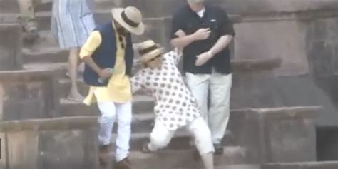 hillary clinton falling down stairs the daily caller hillary nearly falls down stairs in india the daily caller