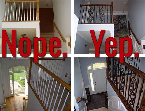 replace banister and spindles how to install iron balusters view along the way