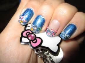 Pink and black zebra nail design blue rhinestones nail design