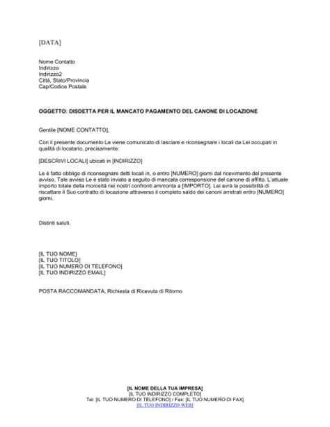 lettera disdetta affitto casa disdetta casa affitto