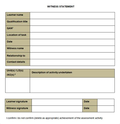 witness letter template sle witness statement template