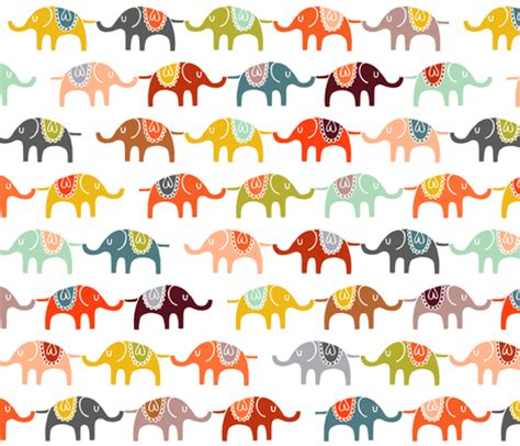 pattern fabric elephant elephant march fabric endemic spoonflower