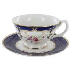 navy rose porcelain teacup and saucer set