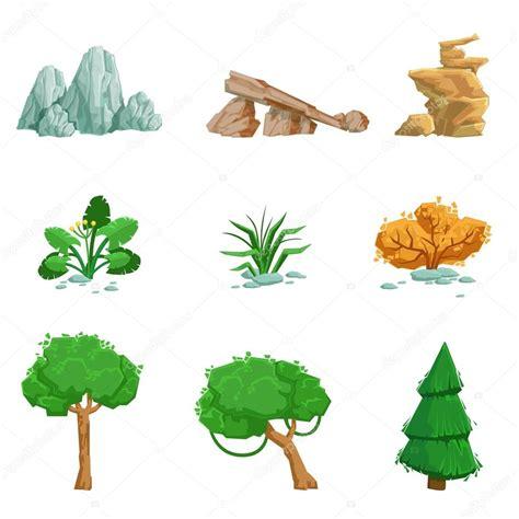imagenes figurativas elementos conjunto de elementos naturales de paisaje de iconos