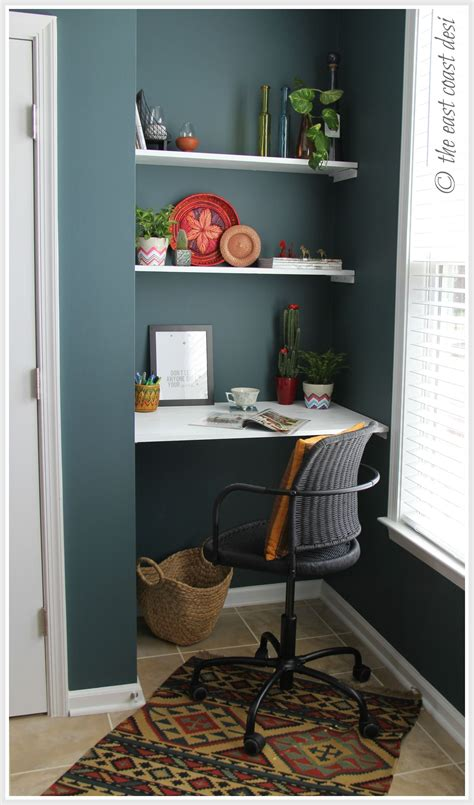small desk area ideas niche converted to a mini working desk diy shelves