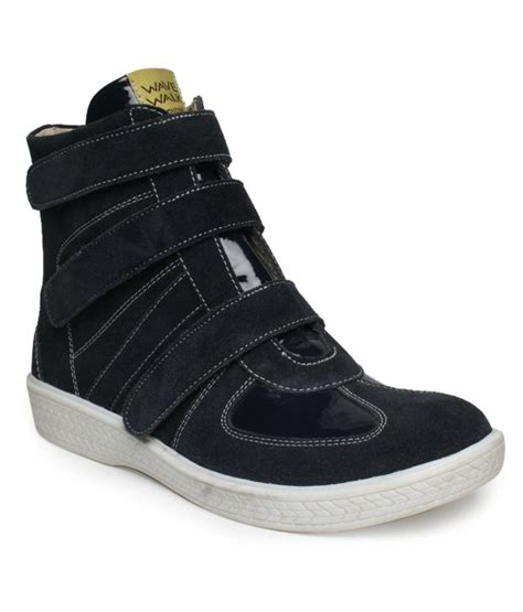 i shoes navy blue high ankle length boots