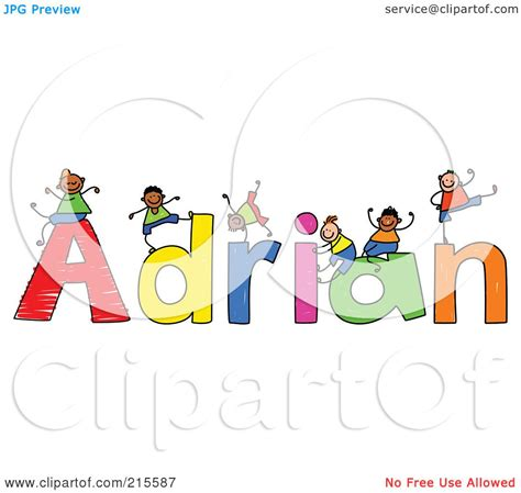 doodle name adrian royalty free rf clipart illustration of a childs sketch